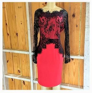 Red Dress Black Lace Overlay Lace Long Sleeves